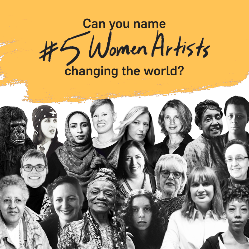 """A graphic with title text reading """"Can you name #5 Women Artists changing the world?"""" at the top over a thick mustard yellow brushstroke, with a black and white collage of photographs of women artists at the bottom."""