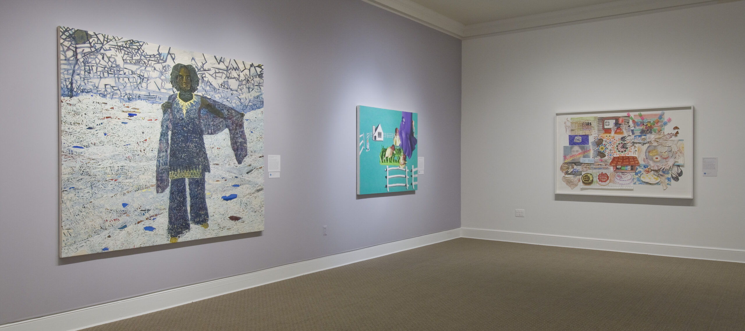 Two large paintings hang on a lavender wall. In the first, a dark-skinned woman stands in a white landscape, and in the other, a fence, house, and large birds float on a solid turquoise background. On the other white wall is an abstract multimedia work with houses, cakes, and patterns.