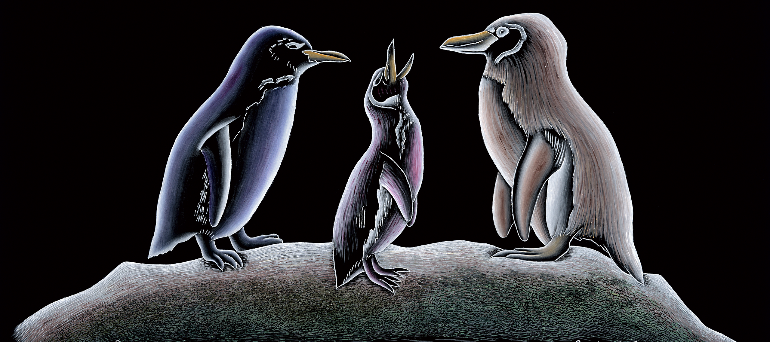 Painting on black glass of three penguins. The smallest is standing in the middle with its bill open to the sky as if waiting to be fead while the two larger penguins stare towards it. The words 'Only 1600 pair left' and 'killing them off' is written by hand at the bottom.