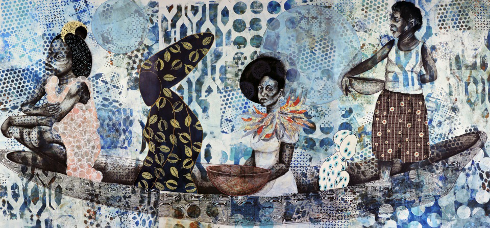 Four female figures sit and stand in a long canoe-like boat. The figures and boat are rendered in black and white; the background consists of indigo patterns, and each figure wears a different patterned garment. The boat seems to be floating on the background pattern.