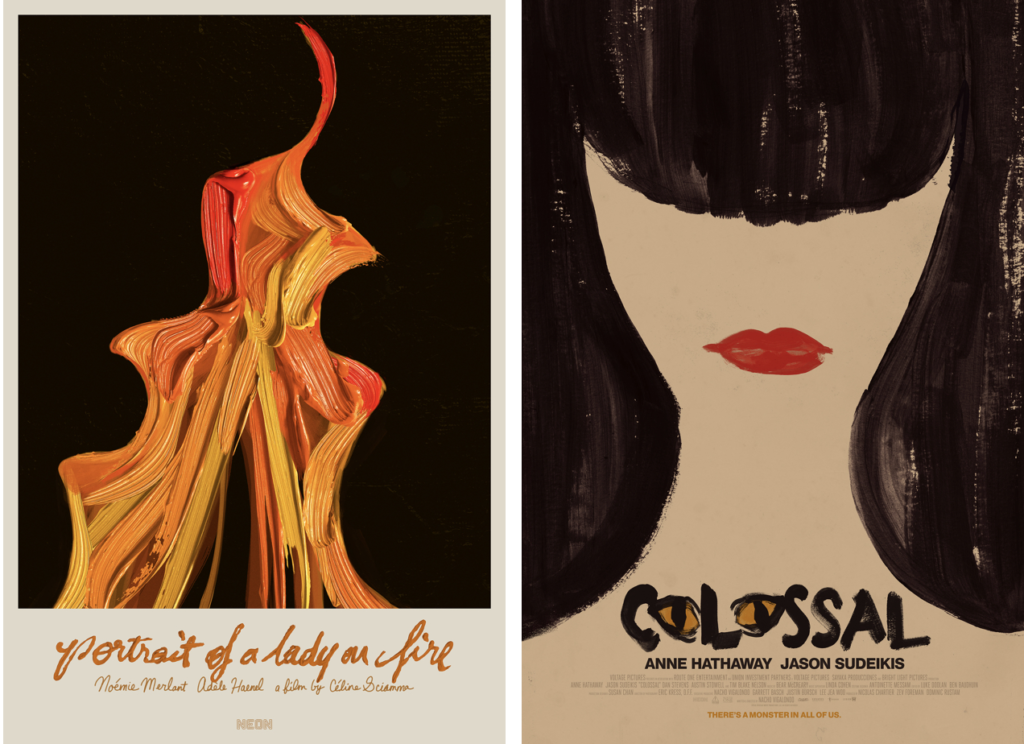 Left: a dynamic flame is painted very thickly against black, and the title, main actors and director are painted below in orange cursive letters. Right: a woman's long black hair and red lips create the shape of a face and neck, otherwise unpainted on pale-colored paper.