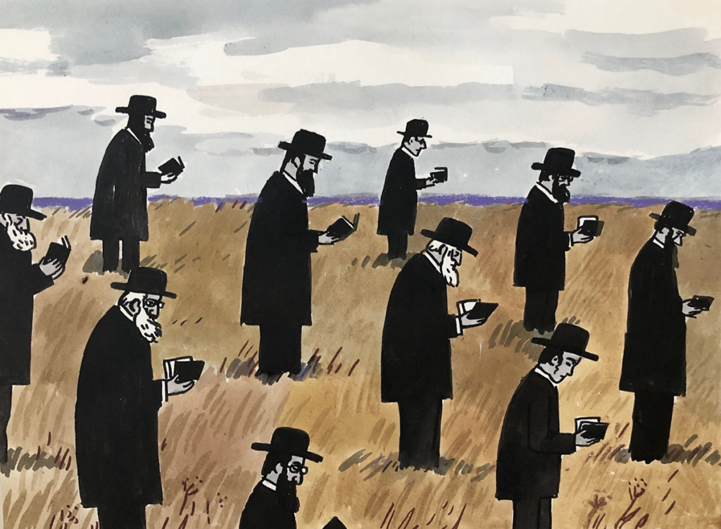 A group of men stand in a wheat field in diagonal equal rows facing to the right. They wear black overcoats, black pants and black wide-brimmed hats, and each looks down the small black book they hold open in their palms. The sky is striped in gray clouds behind them.