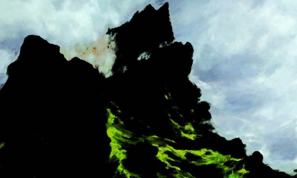 Oil painting with expressive, brushy strokes depicting a mossed mountain and cloudy sky