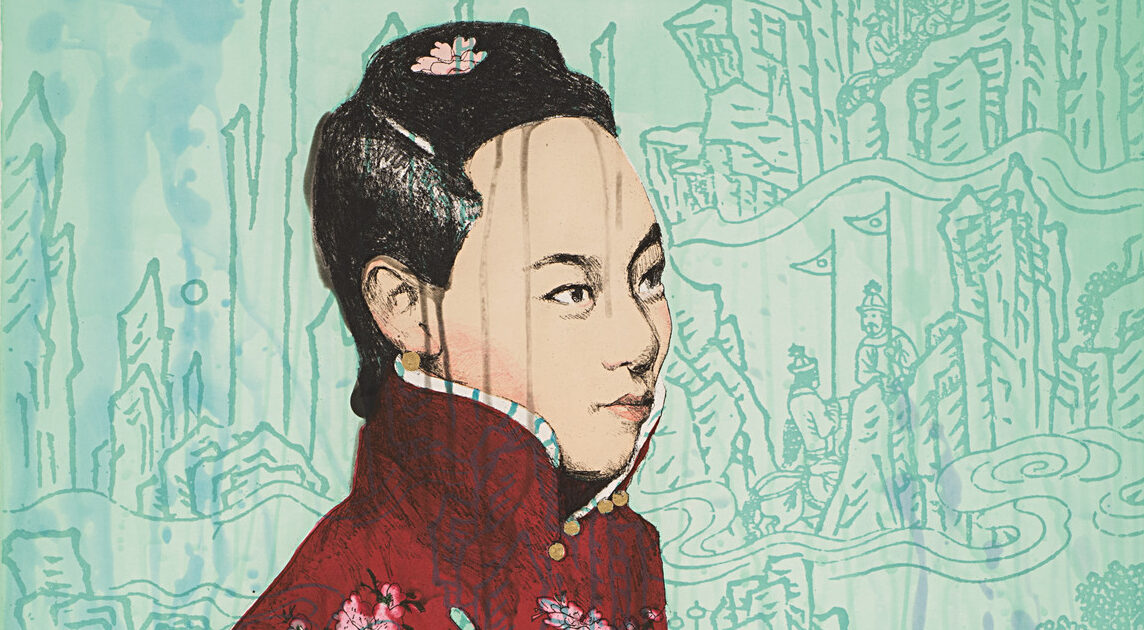 A light-skinned Chinese woman standing against a turquoise backdrop of mountains and Chinese people. She wears a red cheongsam with a turquoise brooch, and her black hair is neatly combed into a bun and held with a pin. A subtle, dark gray drippy texture is layered over her.