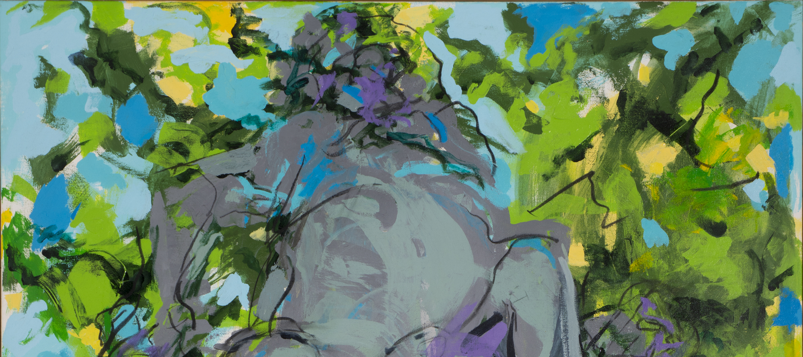Abstract painting with barely discernable gray figures at the center with black outlines and turquoise and purple highlights. Figures are surrounded by gestural brushstrokes of green, yellow, and blue.