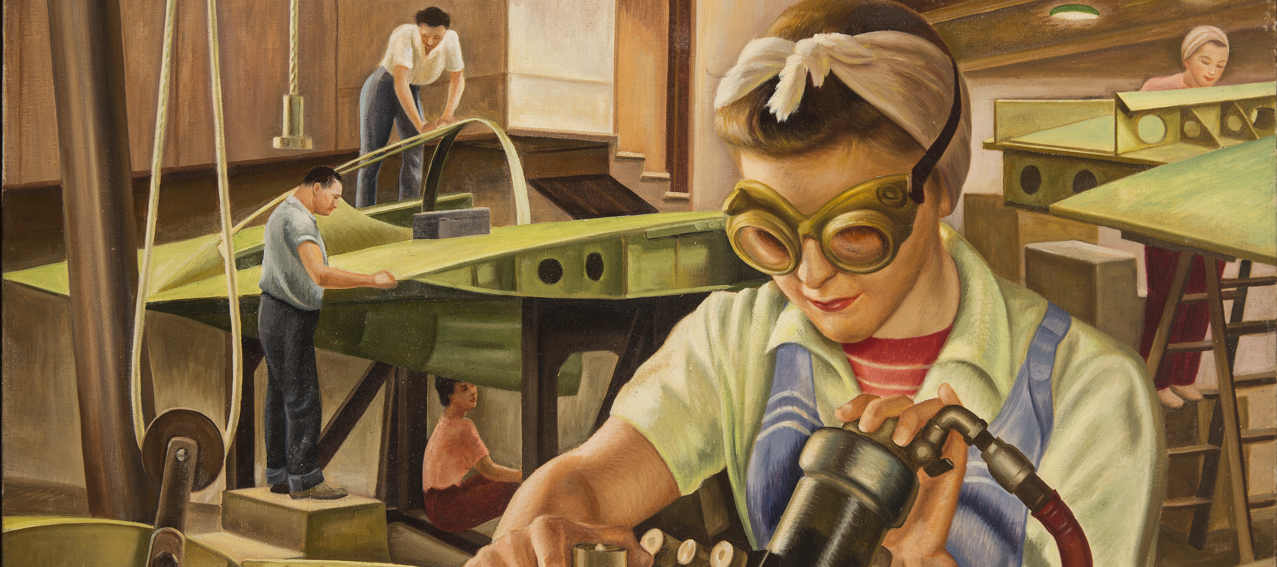 Painting of a light-skinned woman wearing safety goggles and working with machinery in an industrial warehouse setting. In the background, other light-skinned figures work on airplane parts.
