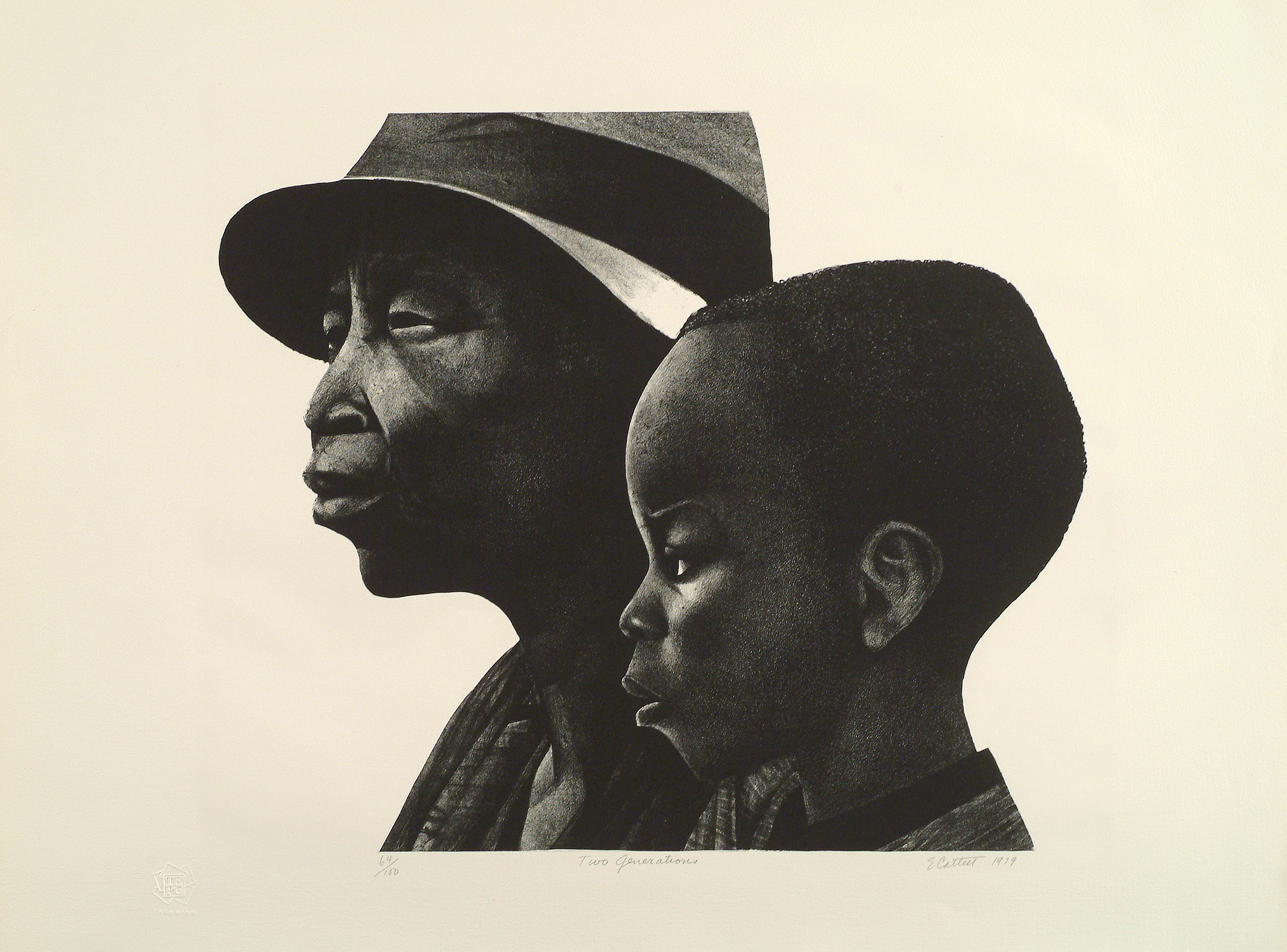 A black-and-white print of two dark-skinned individuals in profile, facing left. The person in the background is an older adult wearing a brimmed hat, and in the foreground and slightly to the right is a young child with coarse hair cut close to the head.