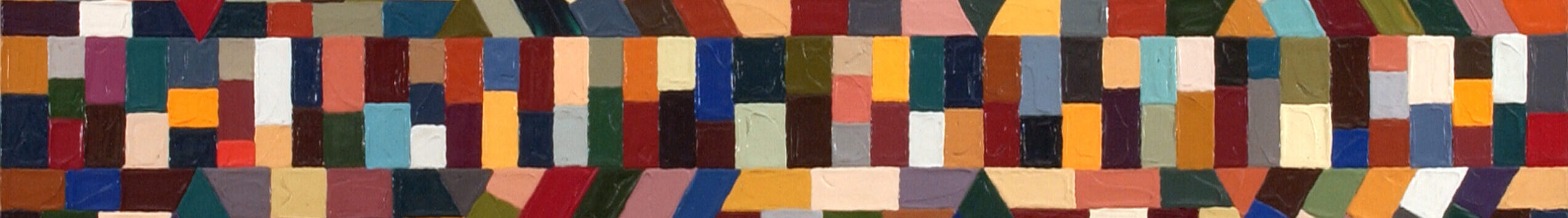 Geometric abstract painting composed of different colored squares arranged in a mosaic-like pattern.