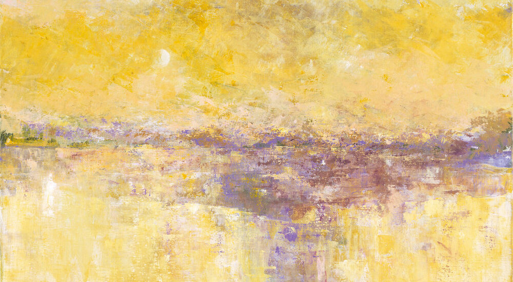 Serene abstract painting composed of short vertical strokes in shades of pale yellow and purple.