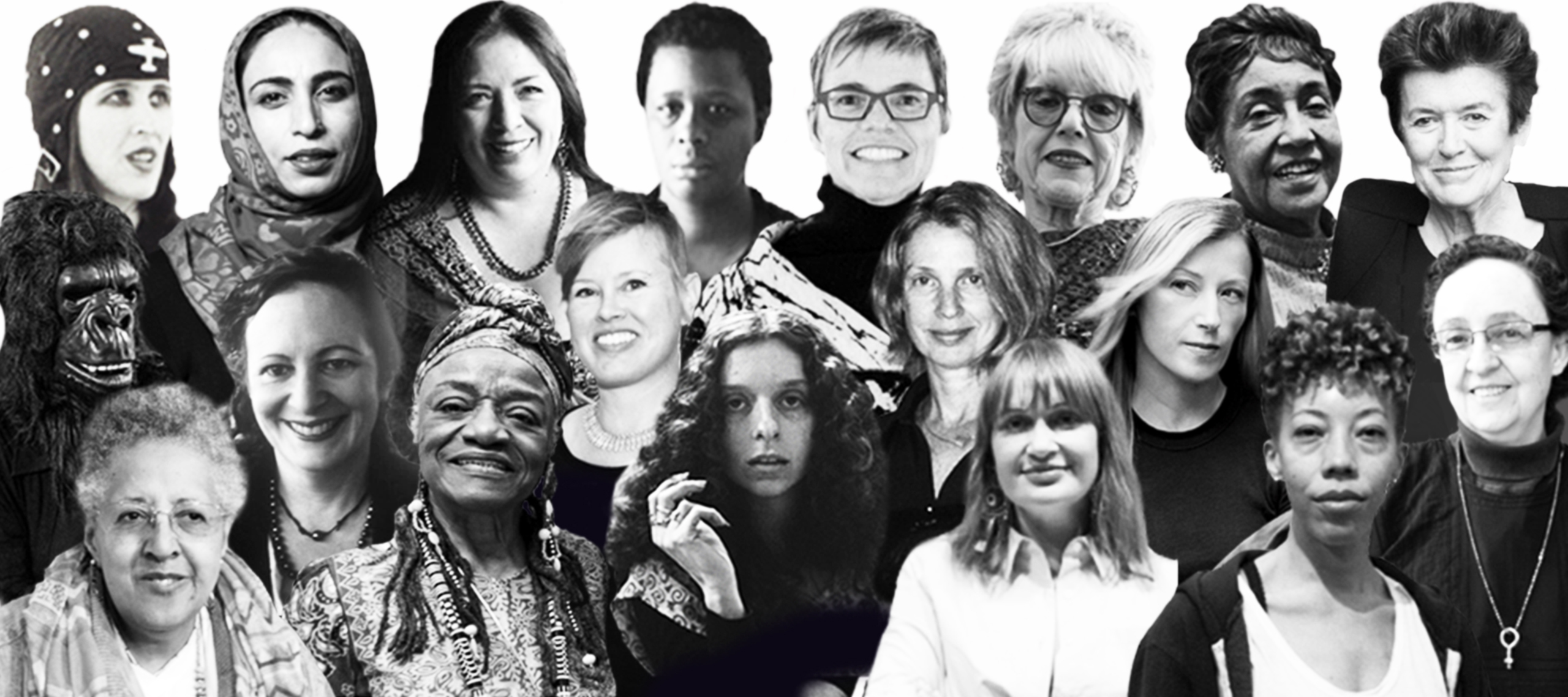 Black and white photo collage of around twenty different women artists shown from the shoulders up.