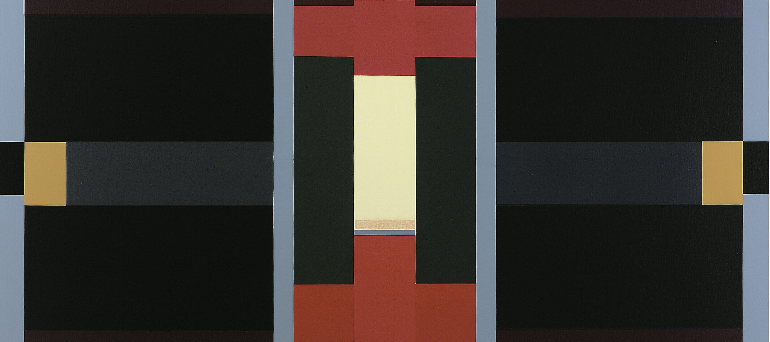 Abstract painting of varying sizes of rectangles divided into three vertical sections flanked by thin, light blue stripes. The central composition includes red cross-shapes with cream, grey and black rectangles; on either side are symmetrical black, brown, and gray horizontal stripes.