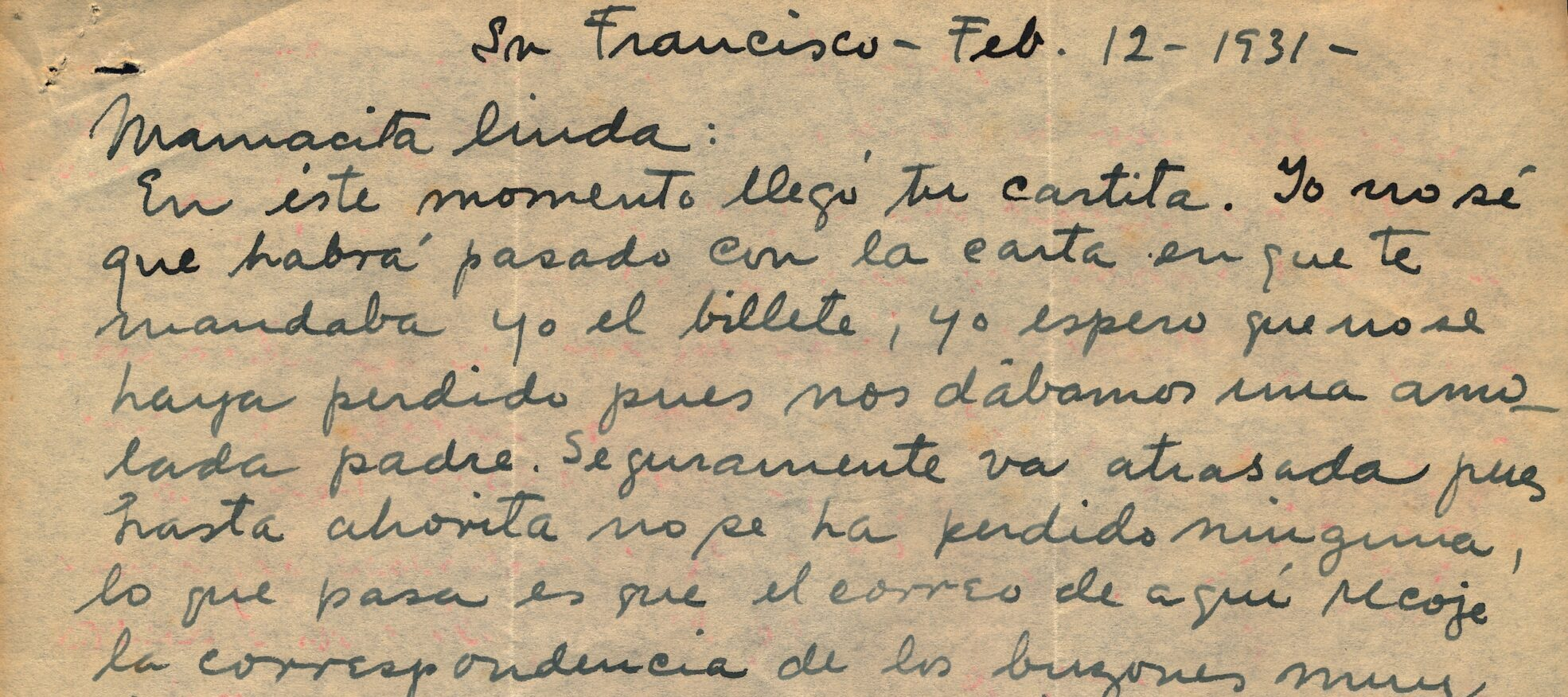 """A letter, opening with """"Mamacita Linda,"""" written in dark ink on a yellowed sheet of paper."""