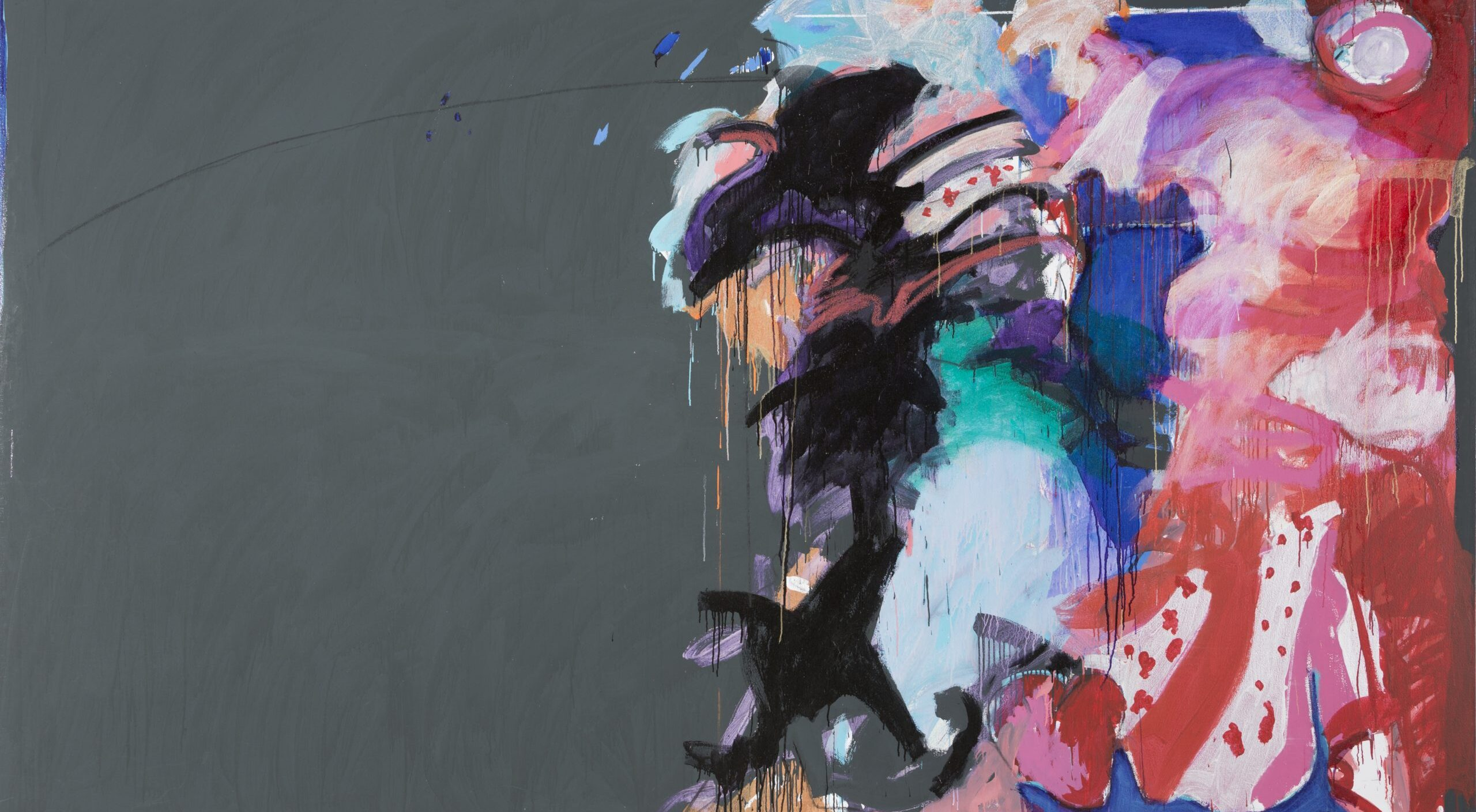 Large abstract work shows half the painting with solid dark gray paint on the right and swirling paint in pinks, blues, black, and purples on the right.