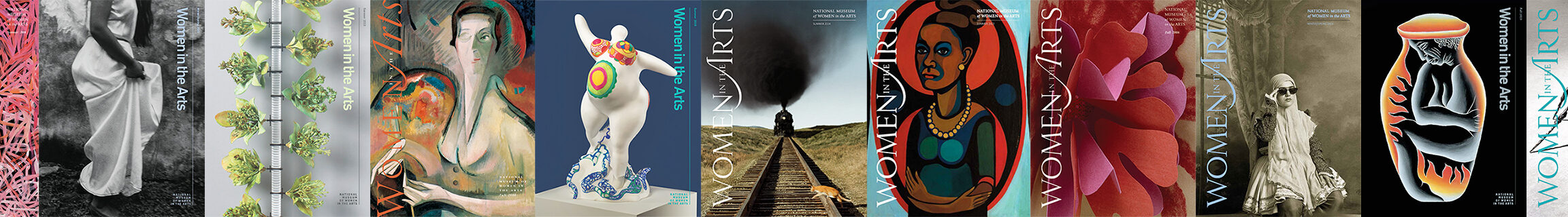 Side-by-side composition of multiple magazine covers published by the museum. All covers have a featured image followed by the text, 'Women in the Arts.'