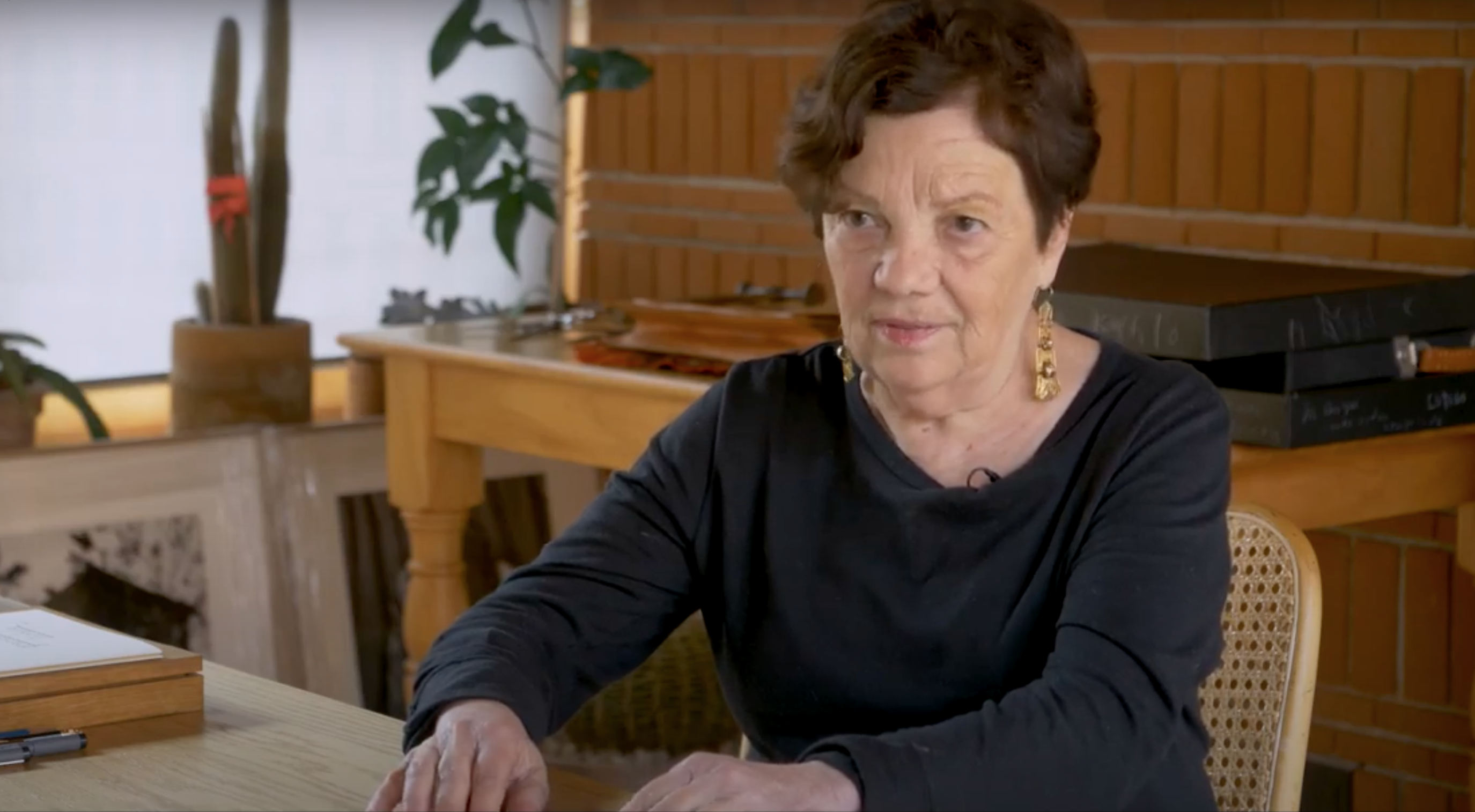 Still photograph from a video about the artist shows an older woman with light skin and dark hair sitting at a table.