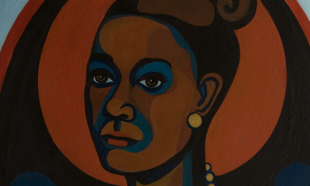 Modernist portrait of a dark-skinned woman with her hair styled in a 1960's updo, wearing pearl earrings and a pearl necklace. In a style akin to Cubism, solid-colored shapes in browns, blues, black and orange, are arranged to create the overall image.