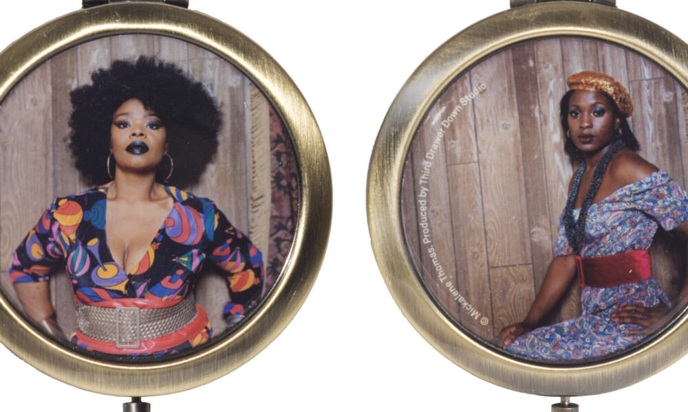 Two sides of a compact mirror, each featuring a photographic portrait of a black woman.