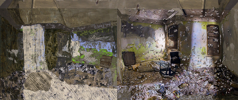 A horizontal mixed-media work in earth tones of a barren interior scene. The elements are abstract and difficult to identify. On the right, a beam of light from the ceiling illuminates a cabinet, chairs, and clutter. This is mirrored on the left, but with less photographic quality.