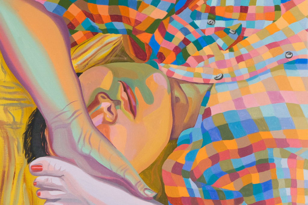 A close-up painting of a person reclining on their back, with their left arm lifted so their hand rests over their eyes. Three toes of a foot are seen next to their head at the bottom left. They wear a colorful, checkered button down shirt. The artist uses bright colors to render light and shadow in organic shapes across the figure's skin.