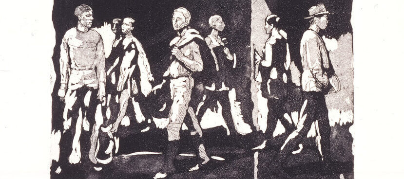 Print of men and women moving through space. Their black and white figures blend into the environment, with patches of light and shadow on their clothing flattening space. Some wear hats, others carry jackets slung over their shoulders, each moving in their own direction.