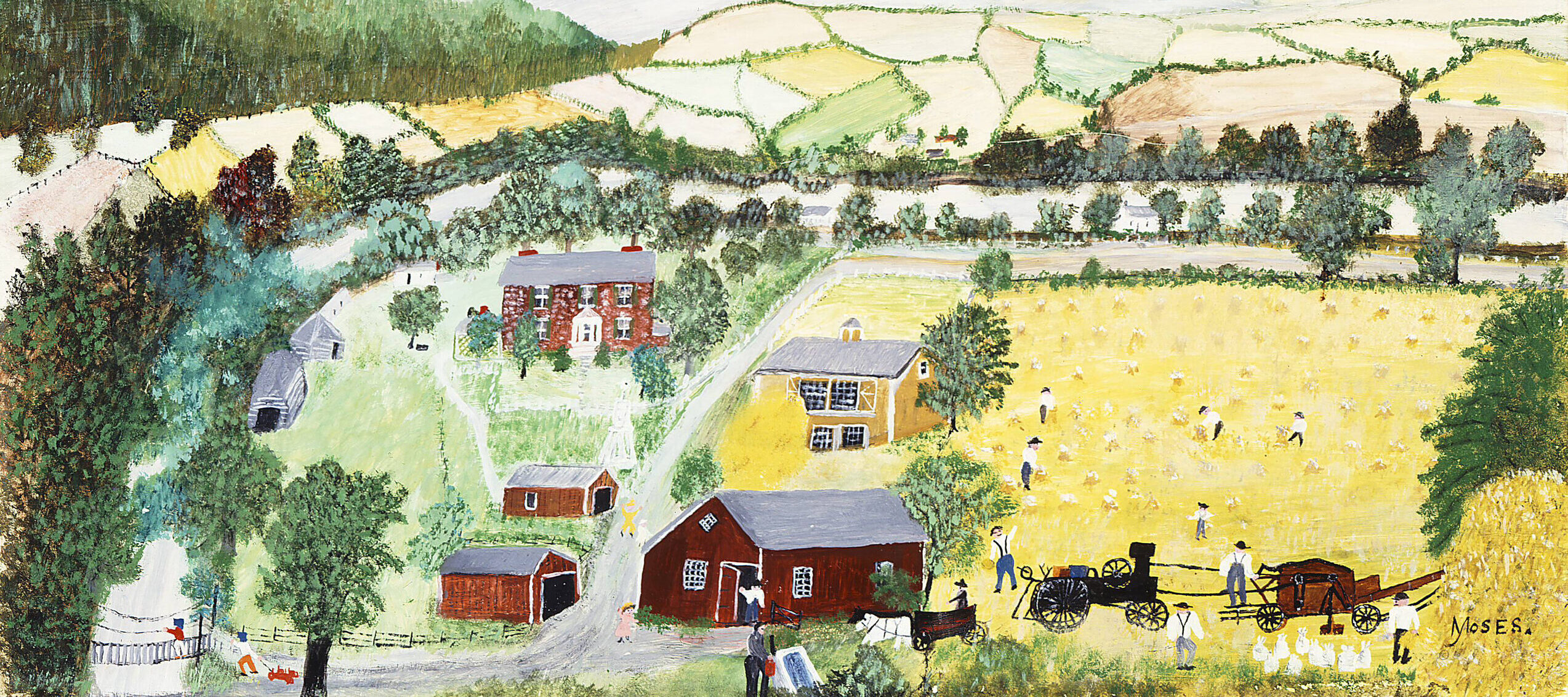 Bucolic landscape rendered in a naive, folk-style of painting. The horizontal composition features a patchwork of yellow and green fields on rolling hills set against a blue-gray sky. In the foreground study farm buildings surround small figures tending to the land.