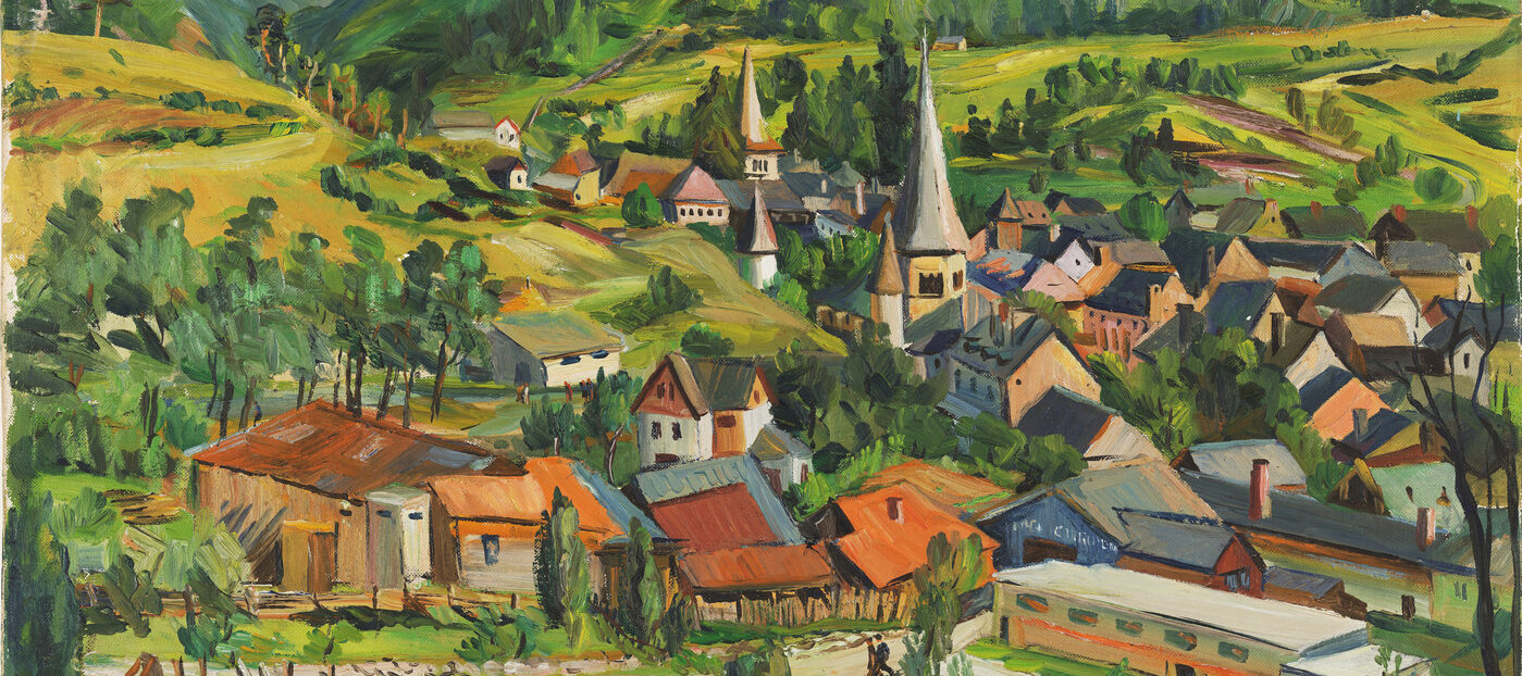 Painting of a village with a body of water in the foreground and green mountains in the backgroud. The village is a cluster of small houses with a few spires marking churches.
