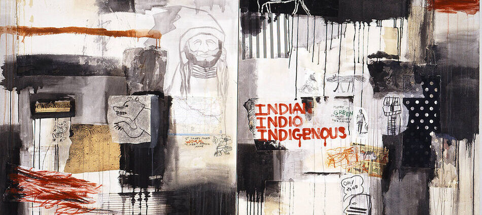"""A horizontal canvas combines collaged paper, such as a scrap of a U.S. map, comic strip, and pictographs; cloth swatches; scrawled and dripped paint; and phrases like """"It takes hard work to keep racism alive"""" and """"Oh! Zone."""" The work's title appears in red paint right of center."""