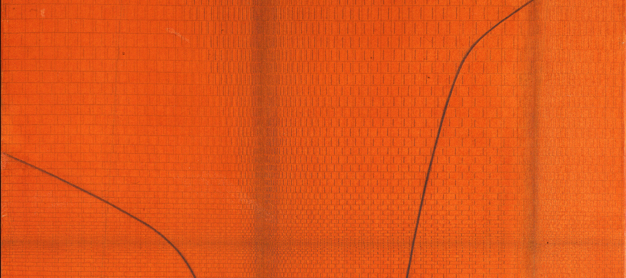 Bold orangey-red paint and pencil artwork with faint pattern like snakeskin. Two thin black lines curves toward the middle of the work from the right and left sides.