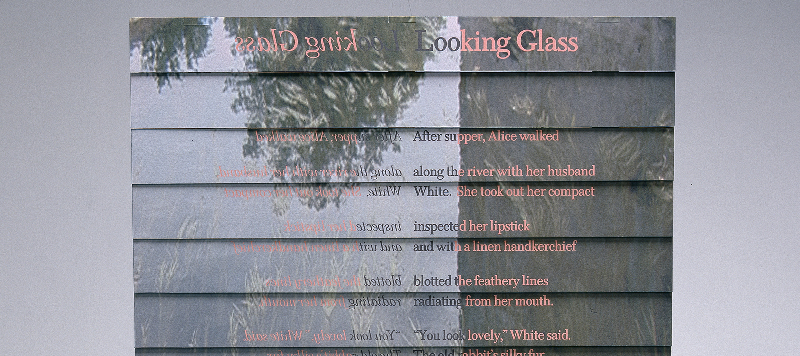 Carol Todaro, <i>Looking Glass</i>, 1999; Archival Inkjet prints on museum board, Venetian blind binding, 19 leaves with painted edges, 1 1/2 x 15 x 1 1/4 in.; National Museum of Women in the Arts, Gift of Nancy O'Malley; © Carol Todaro