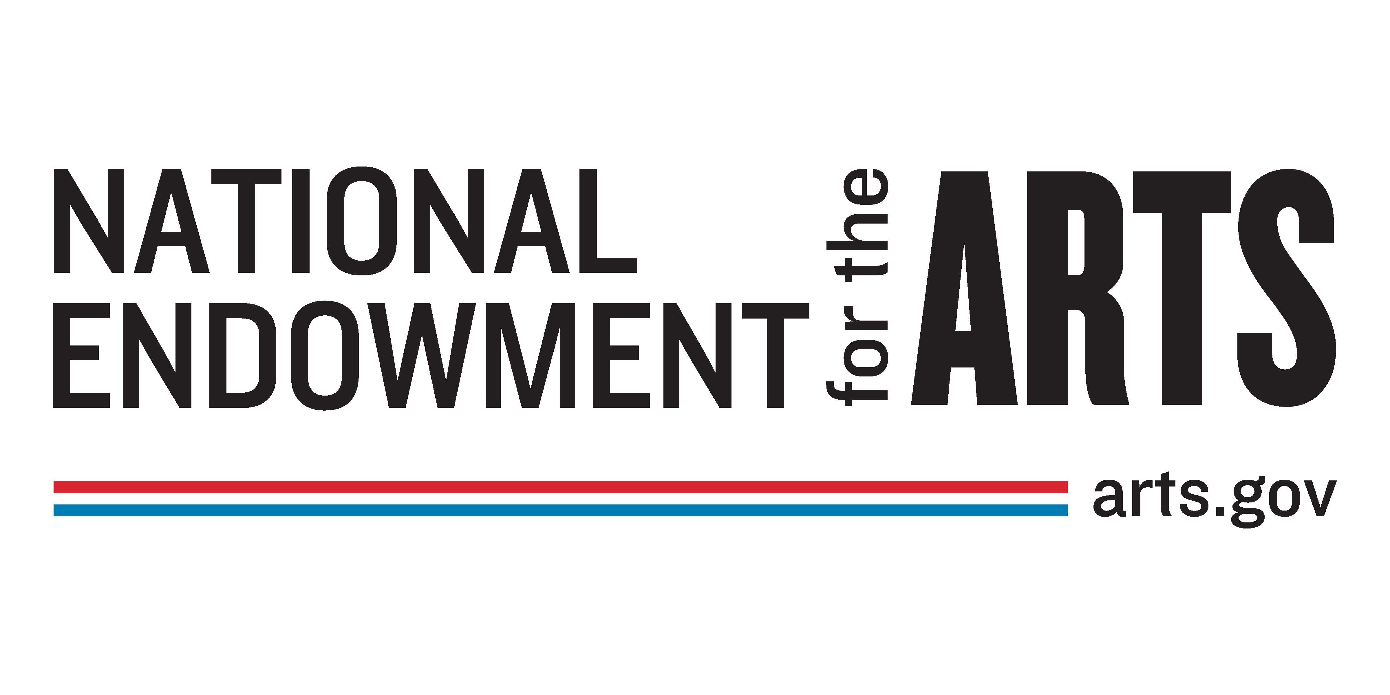 """""""National Endowment for the Arts"""" written in black on a white background, with a rainbow underline and """"arts.gov"""" underneath the bold text."""