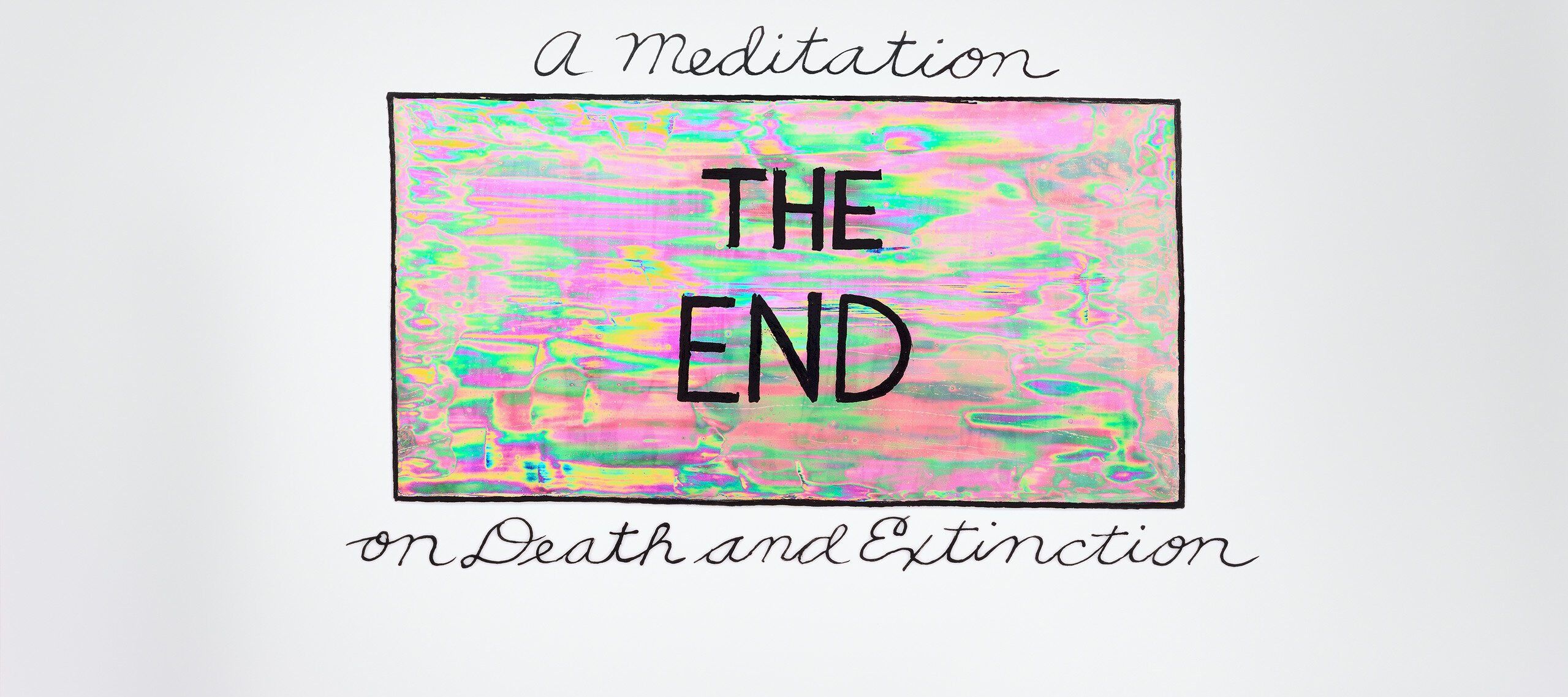 The words 'The End' in bold, uppercase print is shown in an iridescent box of pinks and greens with a solid black border. 'A meditation' sits atop of the box in cursive writing and 'on Death and Extinction' sits below in the same lettering.