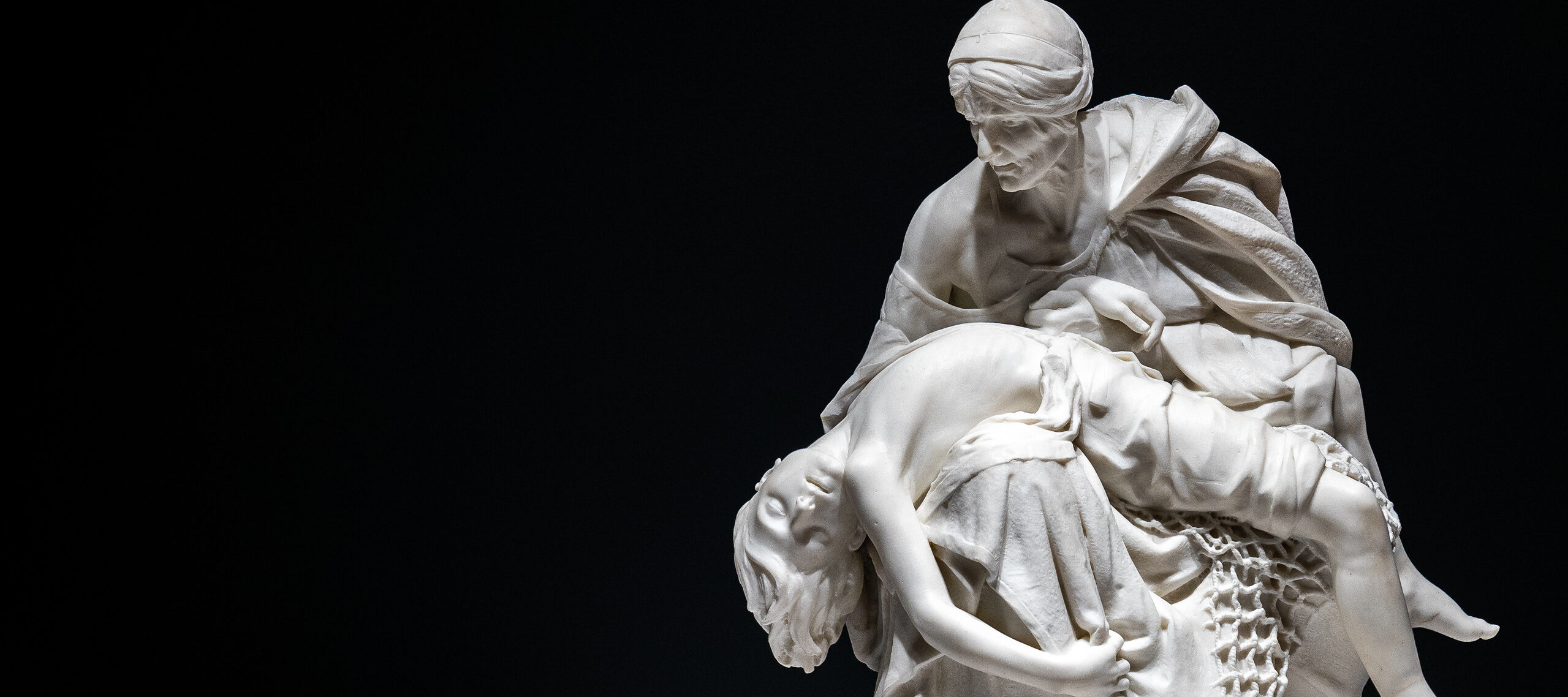 Sarah Bernhardt, <i>Après la tempête (After the Storm)</i>, ca. 1876; White marble, 29 1/2 x 24 x 23 in.; National Museum of Women in the Arts, Gift of Wallace and Wilhelmina Holladay; Photo credit: Cameron Robinson