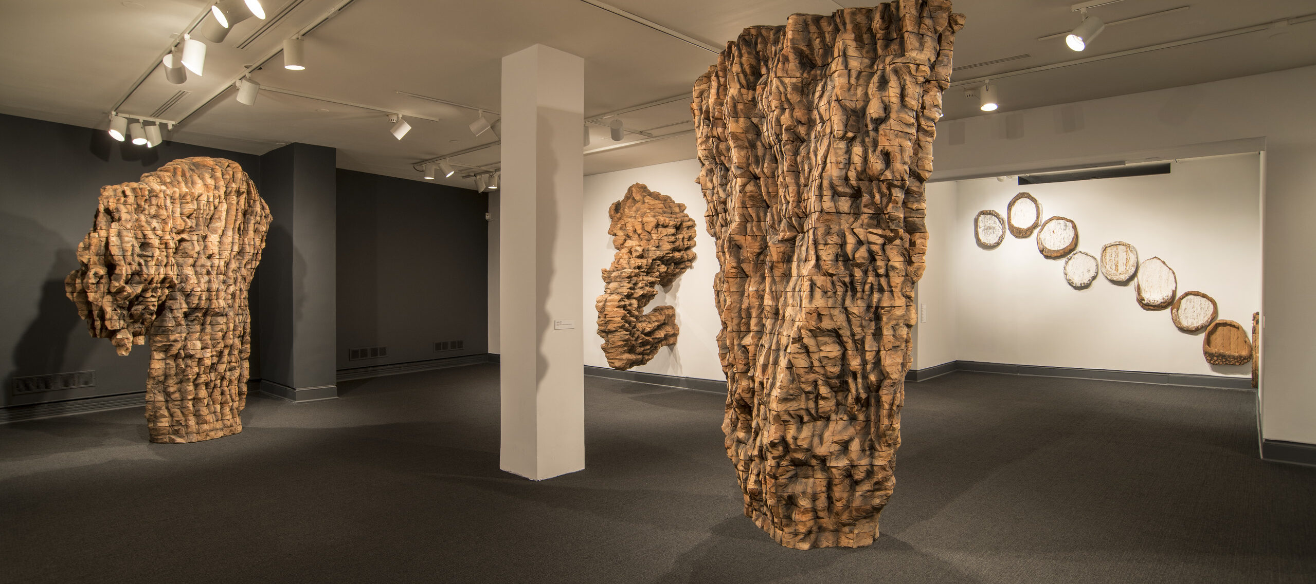 Installation view of <i>Ursula von Rydingsvard: The Contour of Feeling</i>; Pictured left to right: For Natasha (2015), SCRATCH II (2015), Krypta I (2014), ten plates (2018) (back wall); Photo by Lee Stalsworth