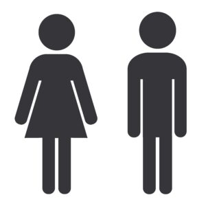 Symbol for available bathroom, depicting the silhouette of one woman and one man.