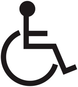 Black line graphic of a wheelchair