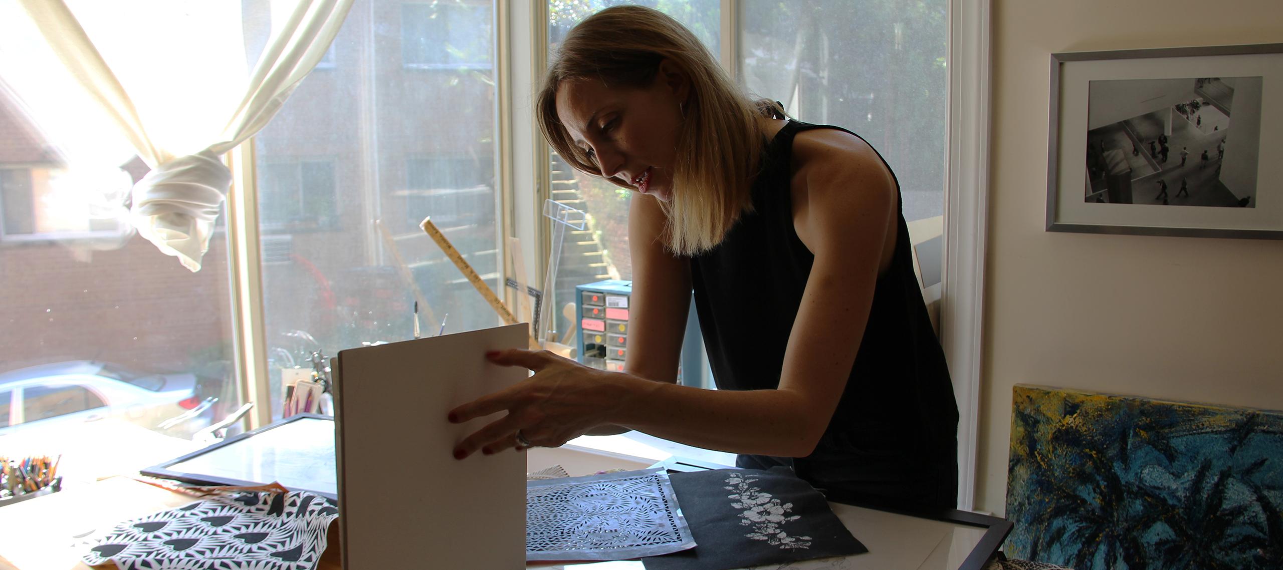 Eva Calonder in her home studio; Photo by Adriana Regalado
