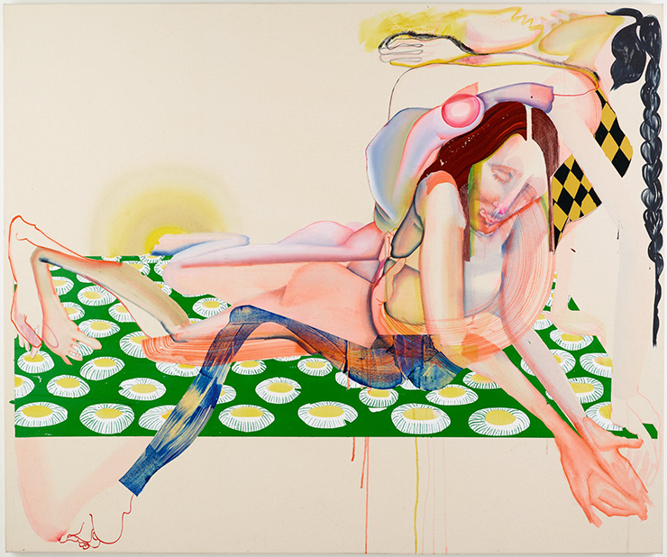 An elongated and abstracted female figure is painted in dreamlike pastel watercolors. She seems to be lying on her stomach on a rectangle of green and yellow patterned circles, propped up on her elbows and looking down at her cupped palms, which she holds out towards the viewer.
