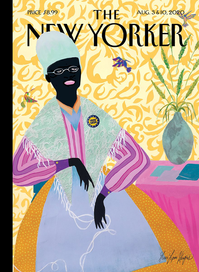 """Vibrant blocks of colors and patterns render a female figure, sitting next to a pink table against floral yellow wallpaper. The figure has black skin and wears a pink striped shirt and a wide dotted orange skirt. A circular pin that reads """"1920 2020"""" is pinned on her shawl."""