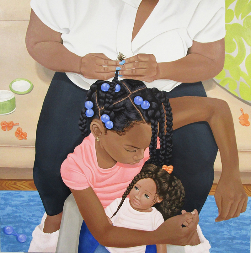 A young dark-skinned girl sits on the ground between the legs of a dark-skinned woman, who sits in a chair while braiding the girl's hair. The girl drapes her arm over the woman's knee and cradles the dark-skinned doll in her lap. Their body language suggests routine and comfort.
