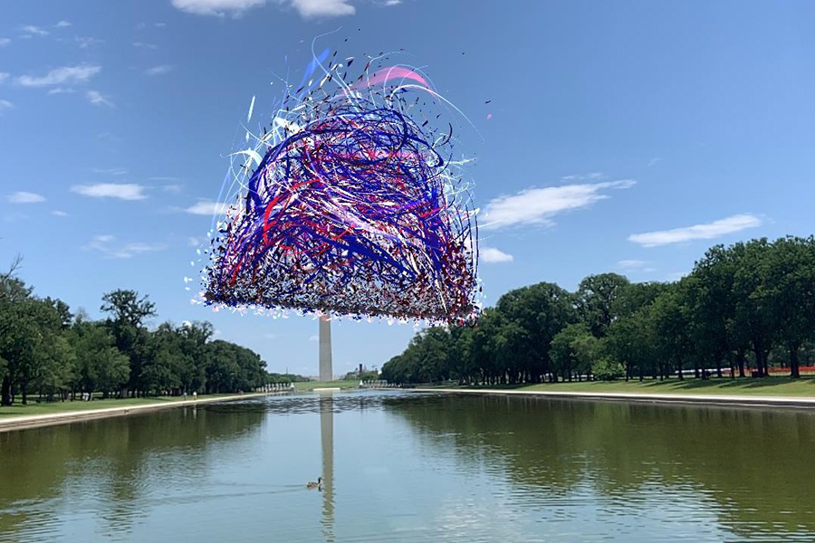 A red, white, and blue mass of swirling, gestural lines roughly forms the shape of a large bell. The graphic floats against a blue sky above a long, artificial pool; the white obelisk of the Washington Monument stands in the background, obscured by the floating drawing.