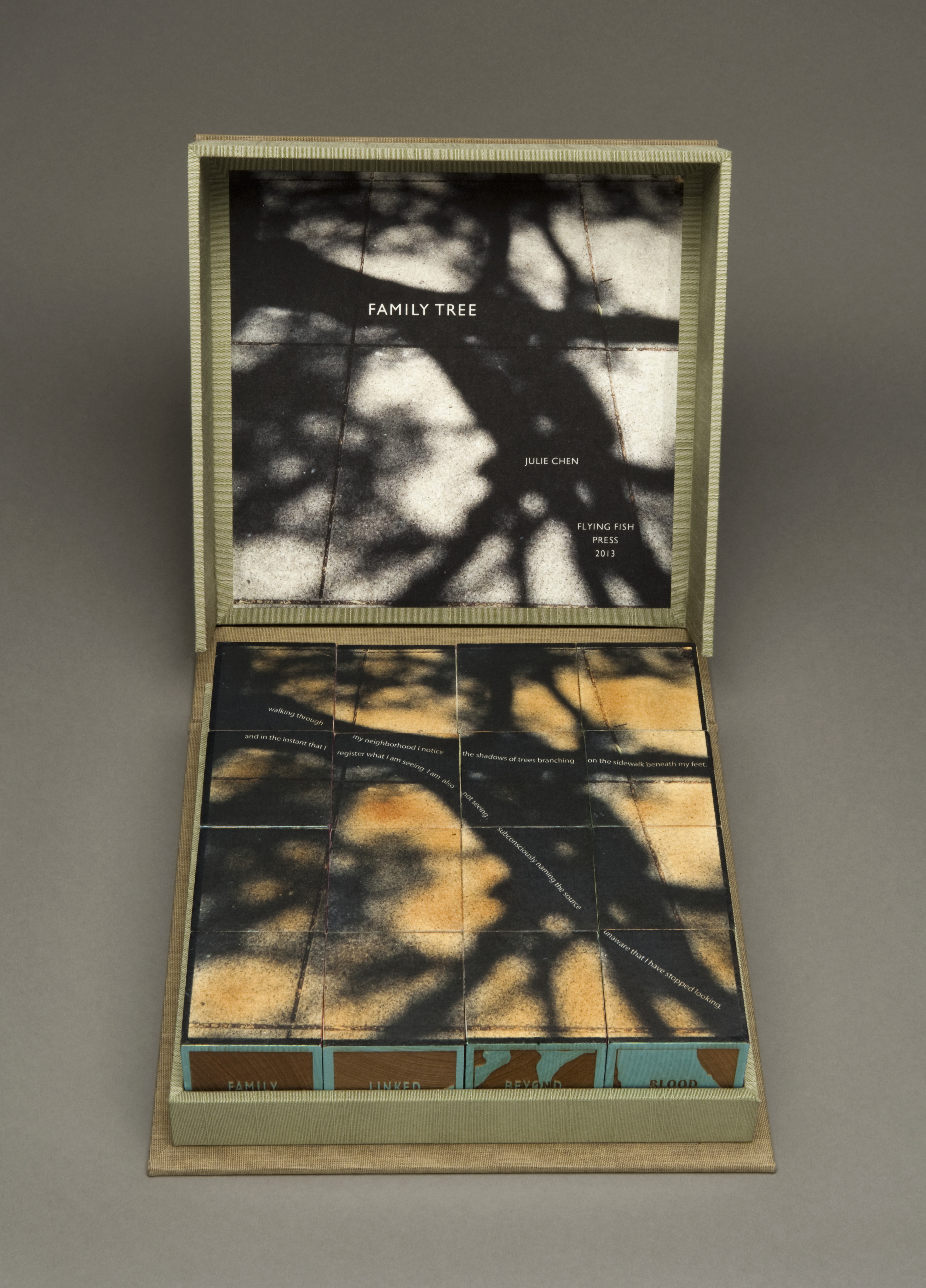 A box sits open revealing 16 cubes arranged in a square to show an orange and black photograph of tree branches. Inside the box lid is the same photograph in black and white, and the words