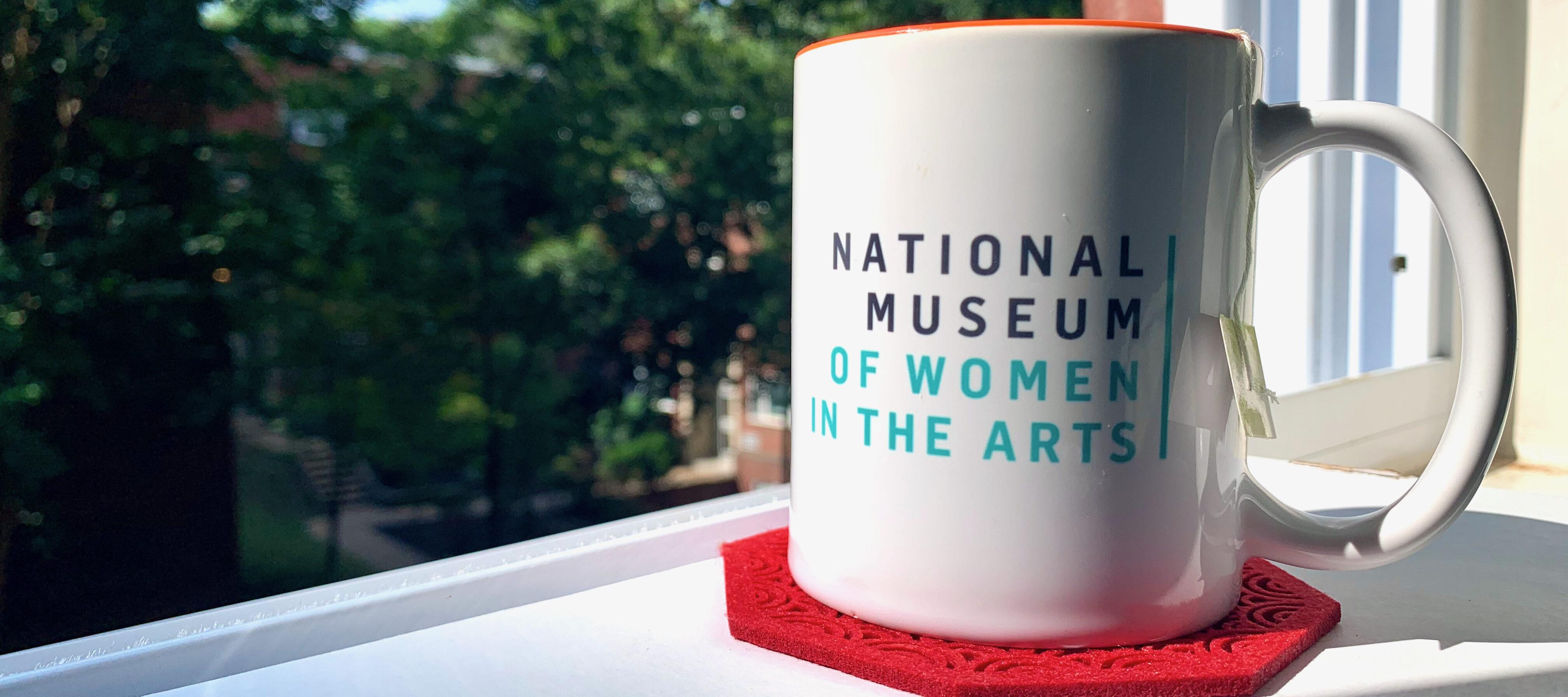 A white mug with