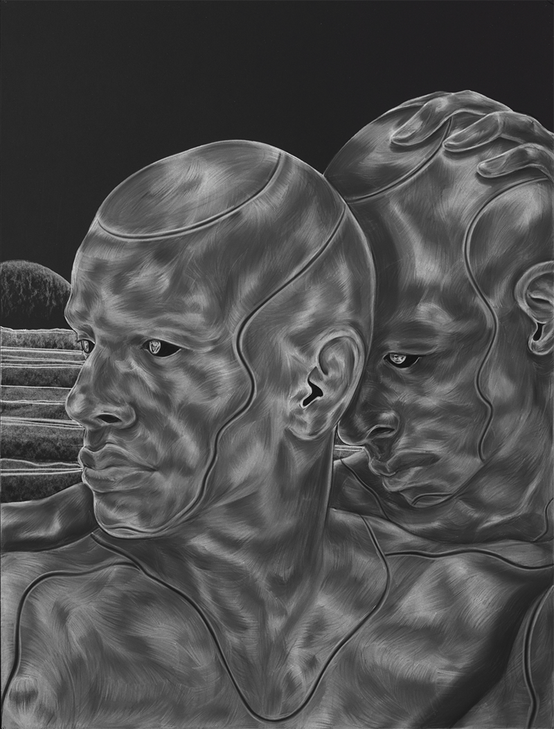 Two figures with no hair are rendered in strokes of white against a black background. The effect is of a negative photograph; their muscles are in high relief. The person in front looks to the left; the person behind rests their forehead on the back of the front person's head.
