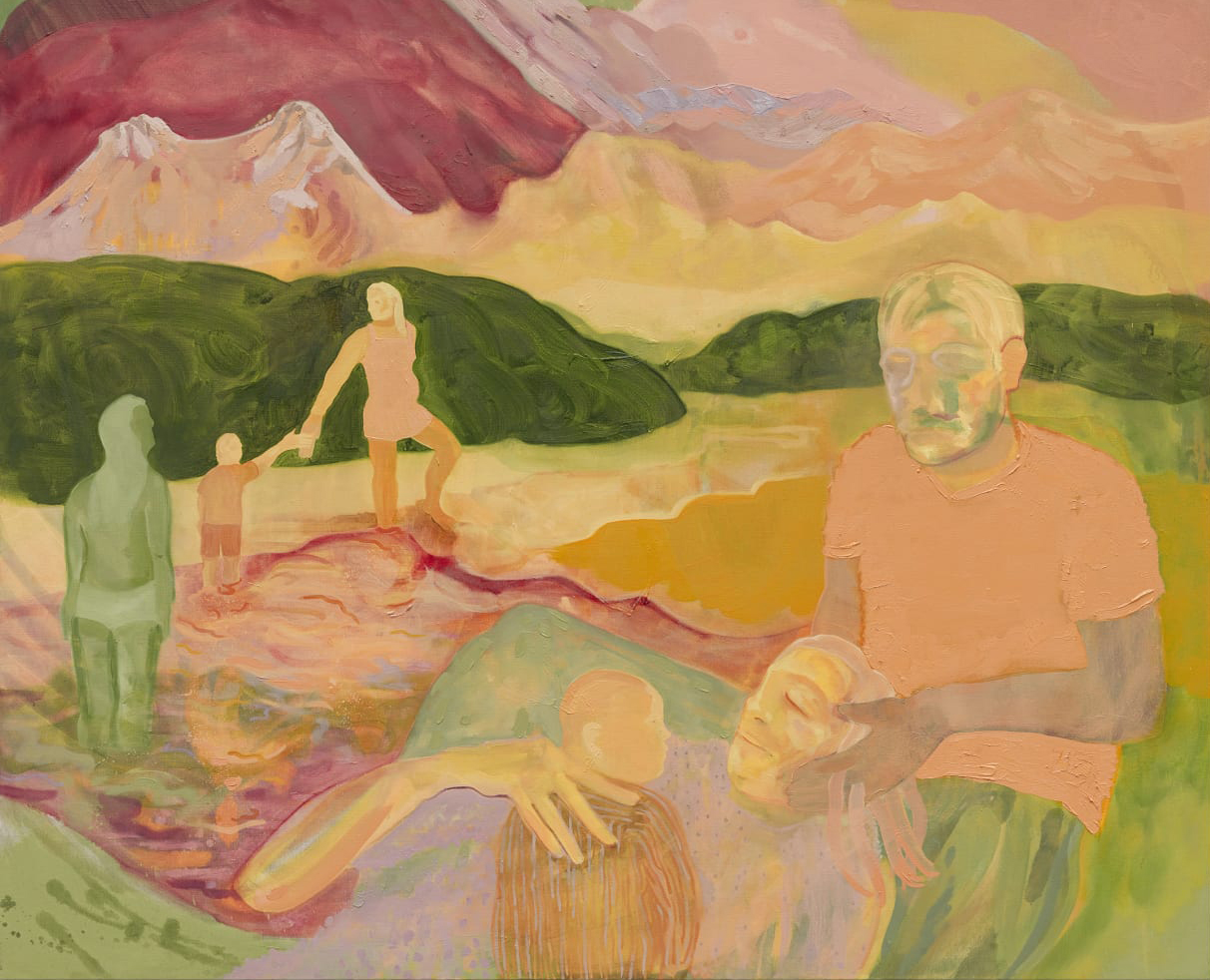 In near-transparent washes of light pastel color, shapes of people are painted within a dreamlike landscape of hills, mountains and water. In the foreground, a man holds the head of a woman, who is lying down and cradling a baby; behind them, a woman leads a child out of a river.