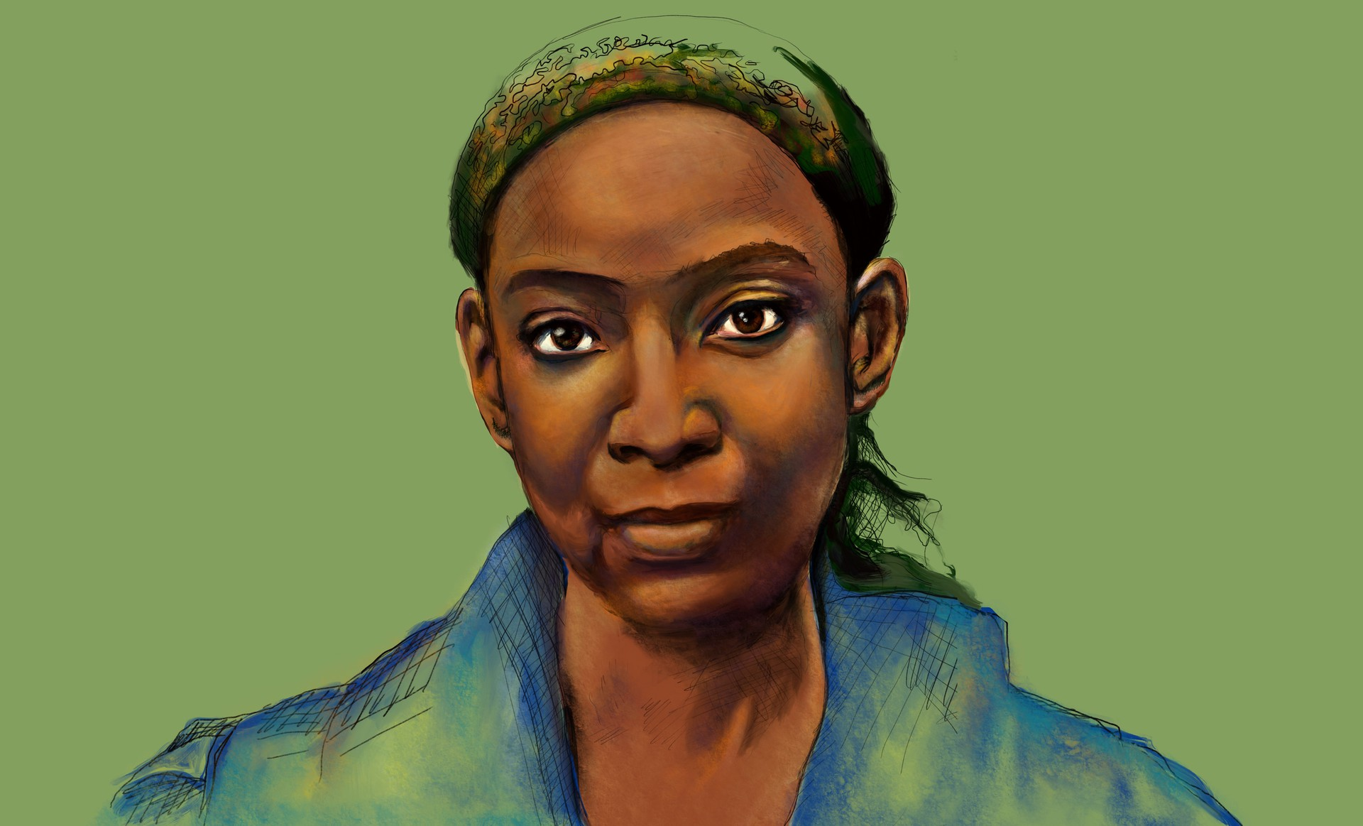 A colorful digital illustration of a Black woman wearing a head scarf and staring pleasantly at the camera; she is unsmiling but her expression is strong and warm. The background is light green.