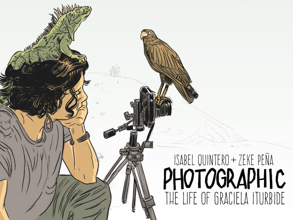 A digital illustration of a woman sitting behind a camera which is affixed to a tripod. Her left elbow rests on her knee and left hand on her chin. An iguana sits on her head. In the distance a sparsely sketched landscape is visible. She looks longingly at the camera.