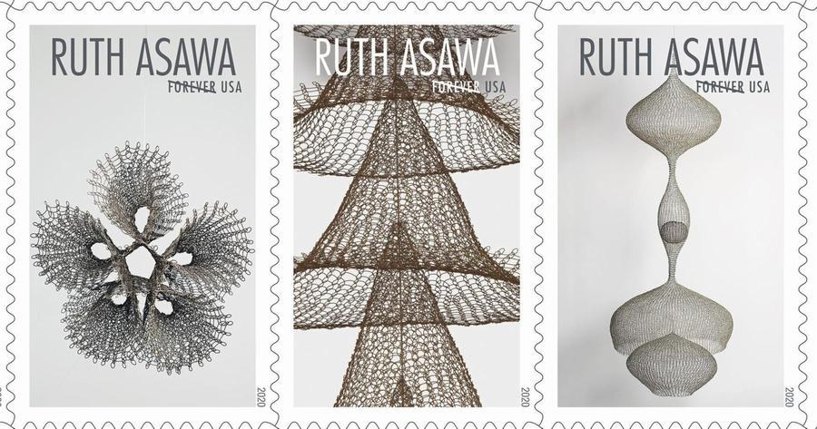 """A horizontal trio of three stamps with the name """"RUTH ASAWA"""" in capitals at the top center, with """"FOREVER USA"""" in capitals beneath. The images are each a different wire sculpture; each creates a different organic, undulating, dynamic shapes with open loops of silver, bronze, or gold wire."""