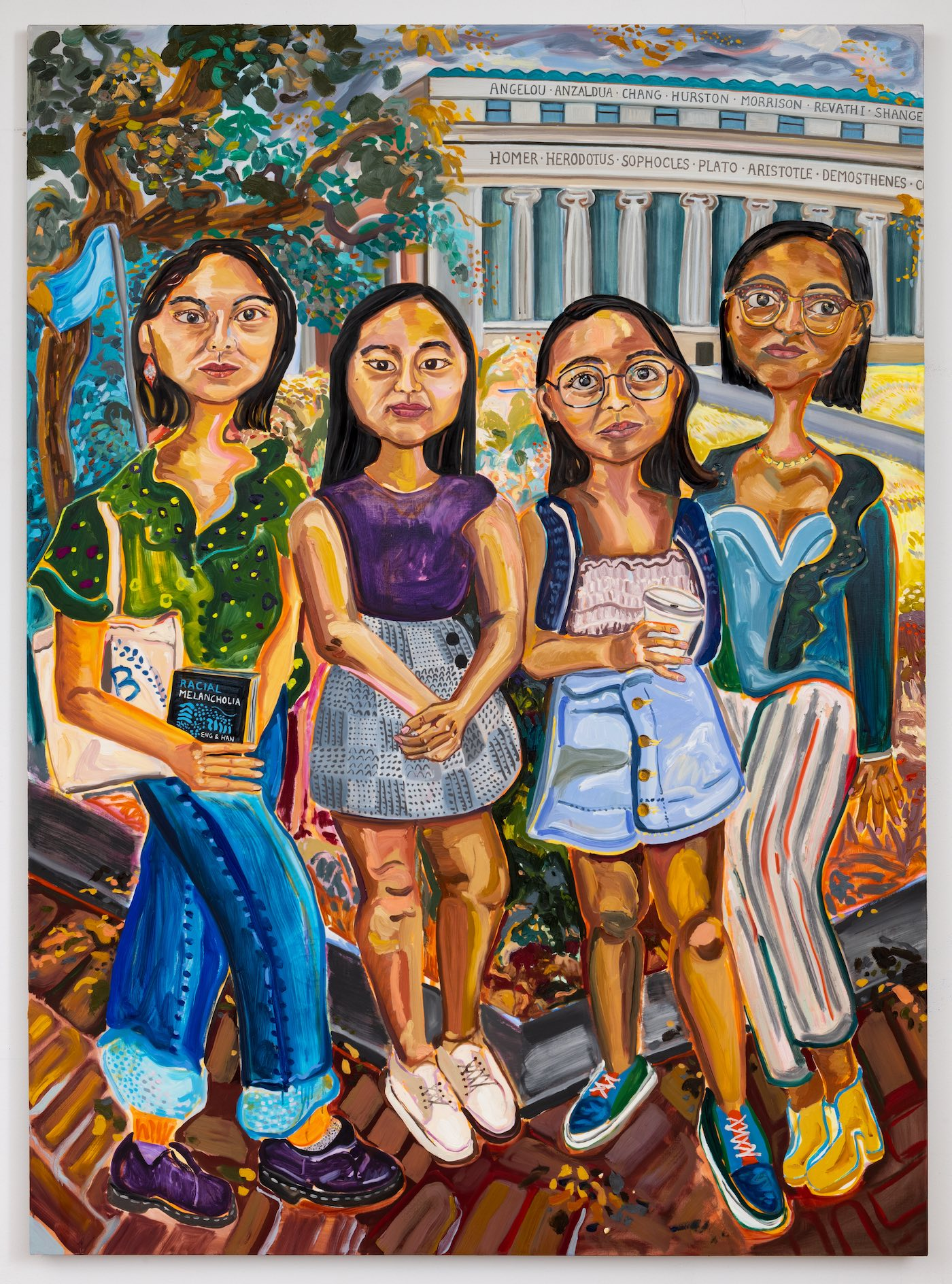 In a vivid painting rendered in thick brushstrokes, four girls stand in front of a grand building. On top of the building's white columns are the names of Homer, Plato and other Greek philosophers; on top of these are the names of Angelou, Morrison and other modern women writers.