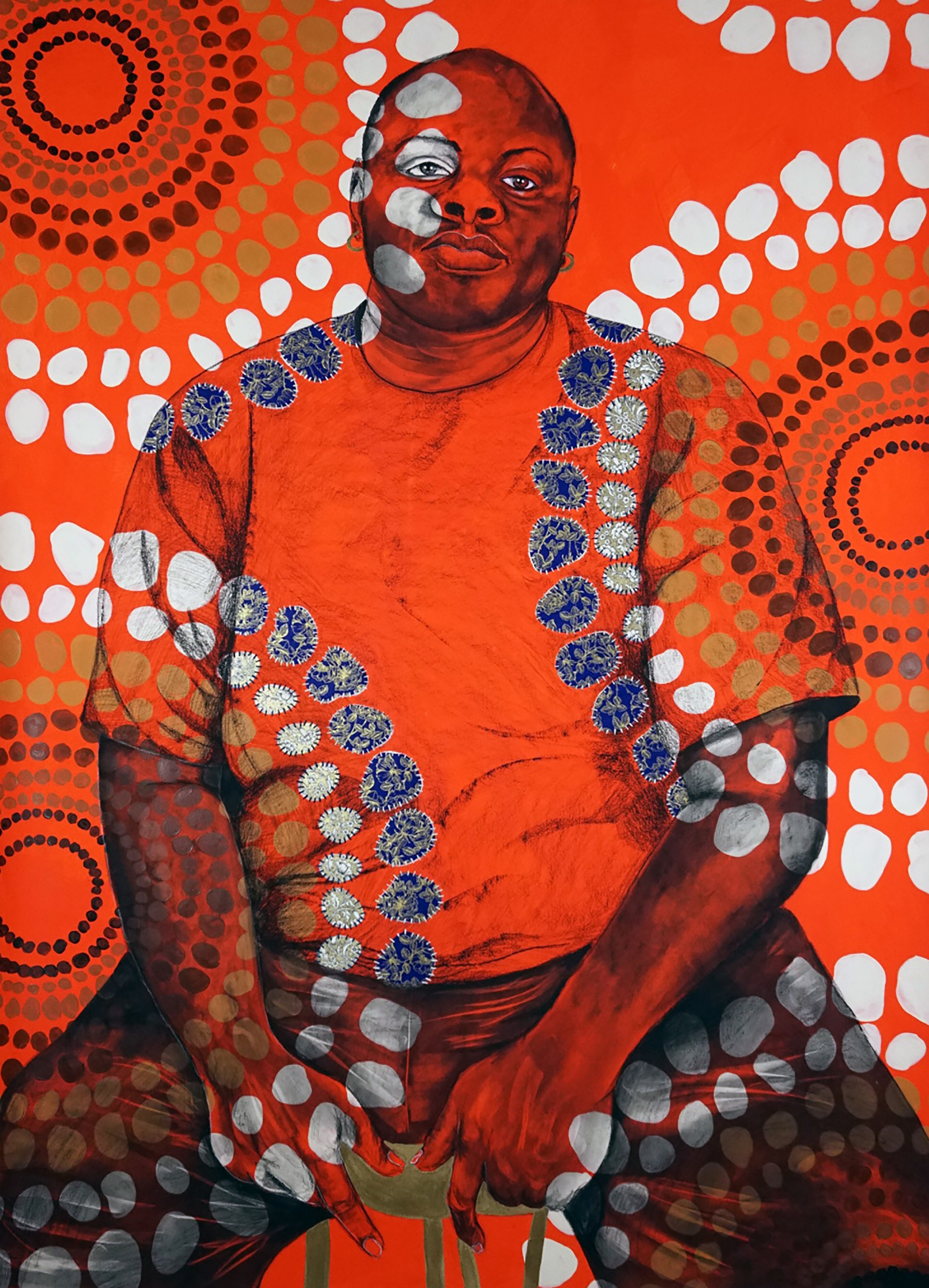 Mixed-media work of a seated dark skin person staring confidently at the viewer; an overlay of bright orange and circular patterns of white, blue, and brown circles covers the person and background.