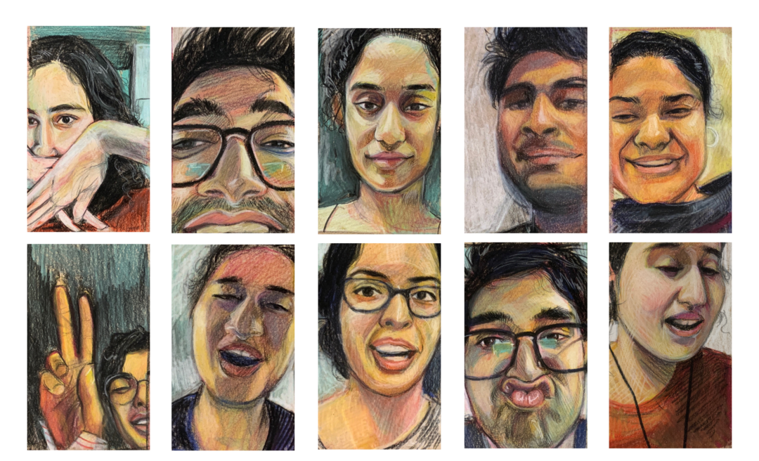 Ten vertical portraits are arranged in a two-by-five grid with the subjects' faces squeezed closely into the frame. Both male and female subjects stare intensely at the viewer conveying emotions ranging from joy and playfulness to boredom and indifference.